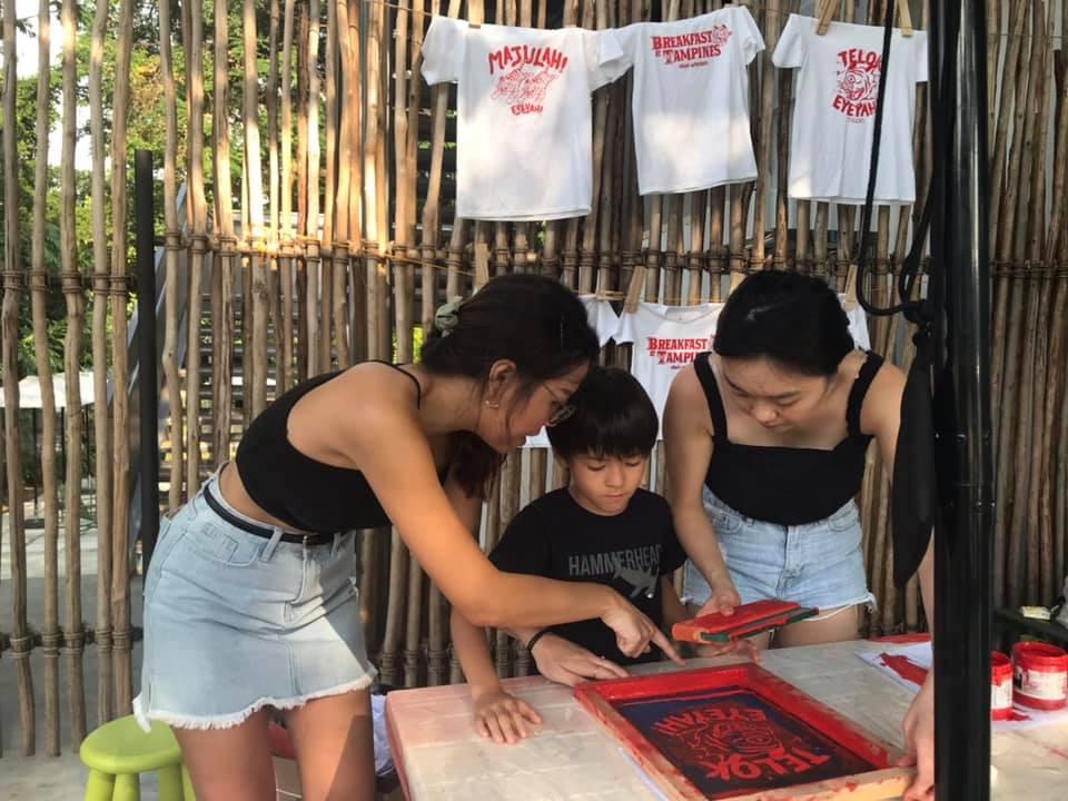 A little helper learning how to silkscreen print