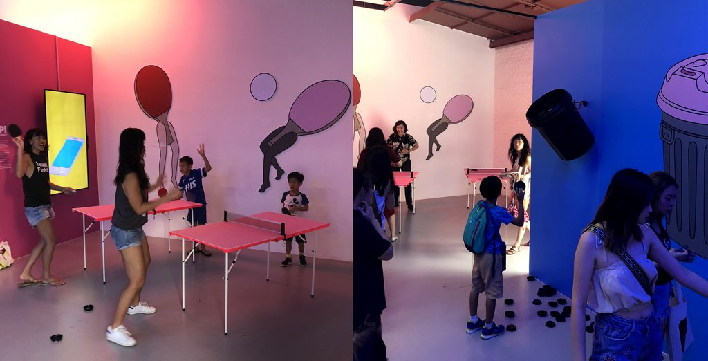 Sound-reactive screen, ping pong tables, never-ending trash bin
