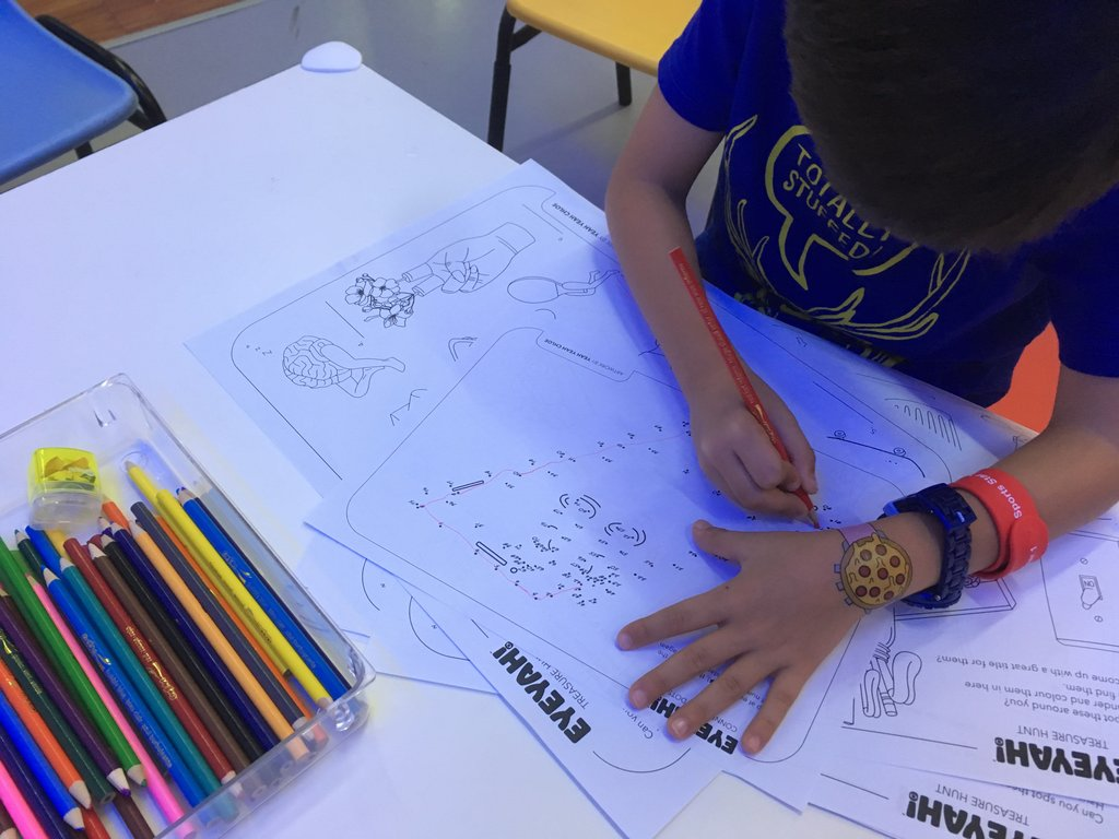 Detailed illustration worksheets were available for colouring-in