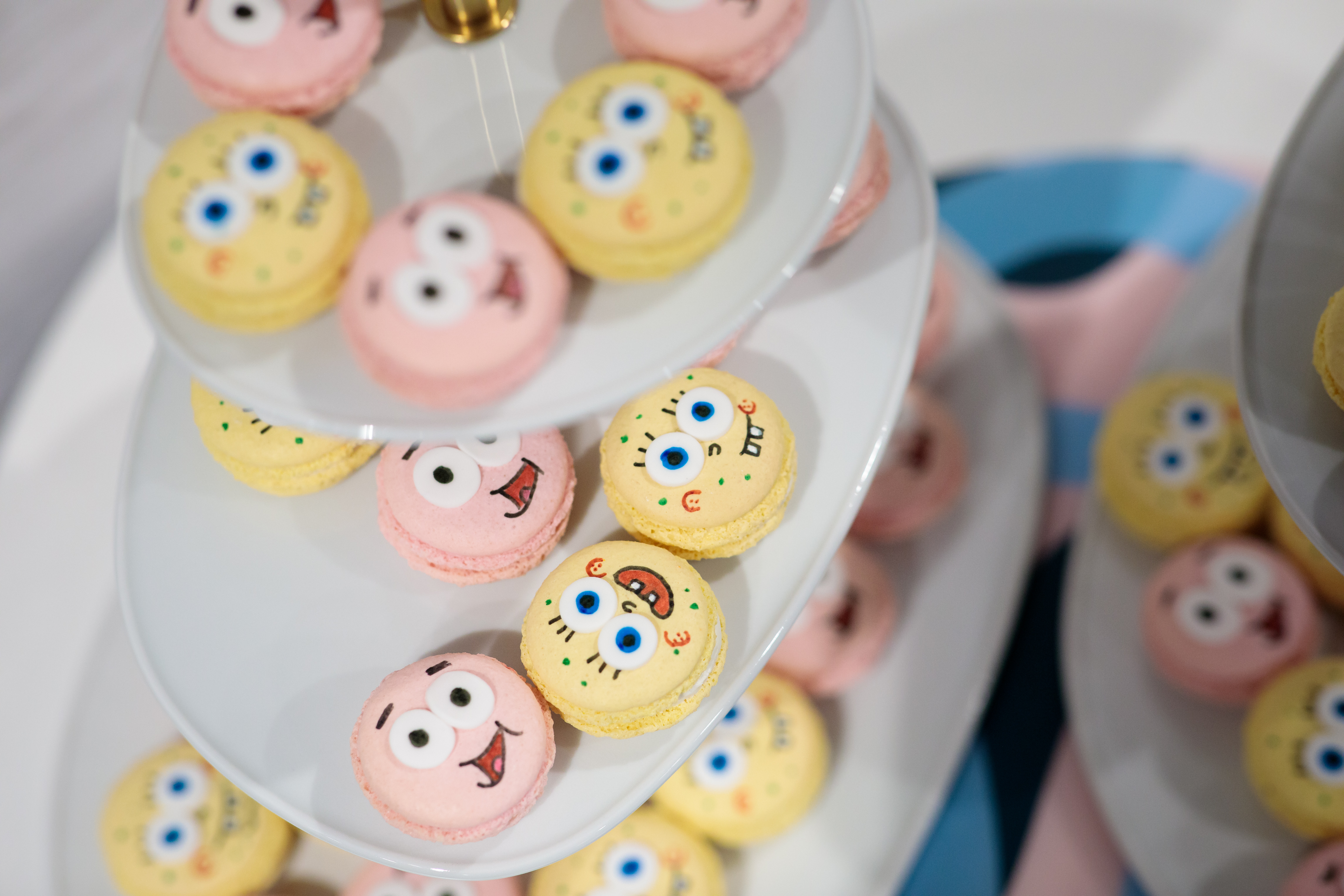 Delicious and pretty looking  Spongebob and Patrick macarons