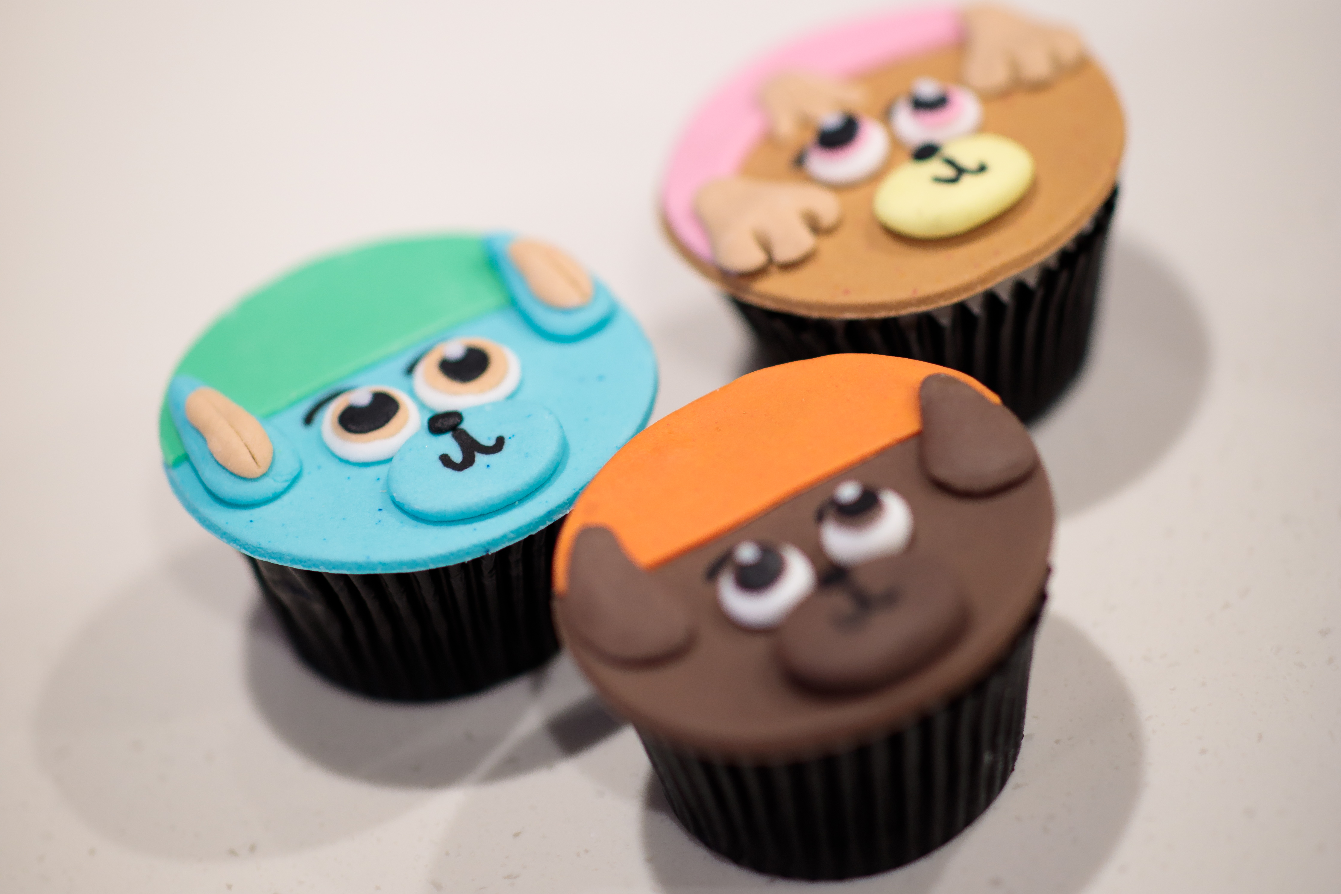 Cupcakes in the shape of Paw Patrol characters