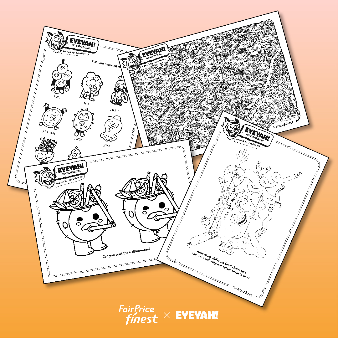 Worksheets designed for the pop-up workshops in NTUC Fairprice