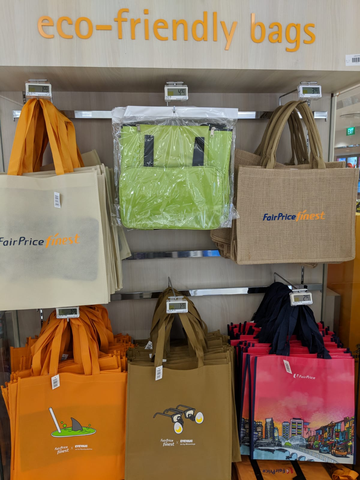 Reusable shopping bags designed by EYEYAH!, sold at NTUC Fairprice